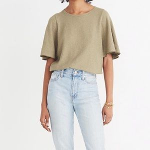 Madewell texture and thread flutter sleeve top